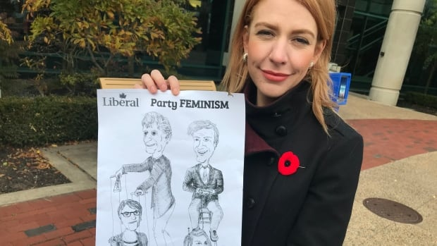 Courtney Pringle-Carver became the Liberal candidate for Moncton Northwest on Saturday. The following morning she found a flyer in her driveway depicting her as a robot controlled by Premier Brian Gallant.