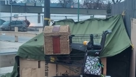 Homeless encampment near Winnipeg Tim Hortons