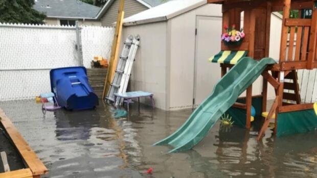 Flooding in a backyard last summer.