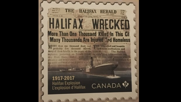 A new stamp commemorating the 100th anniversary of the Halifax Explosion shows the moment after the Imo rammed the French munitions ship Mont-Blanc, and the front page of the Halifax Herald the day after the disaster.