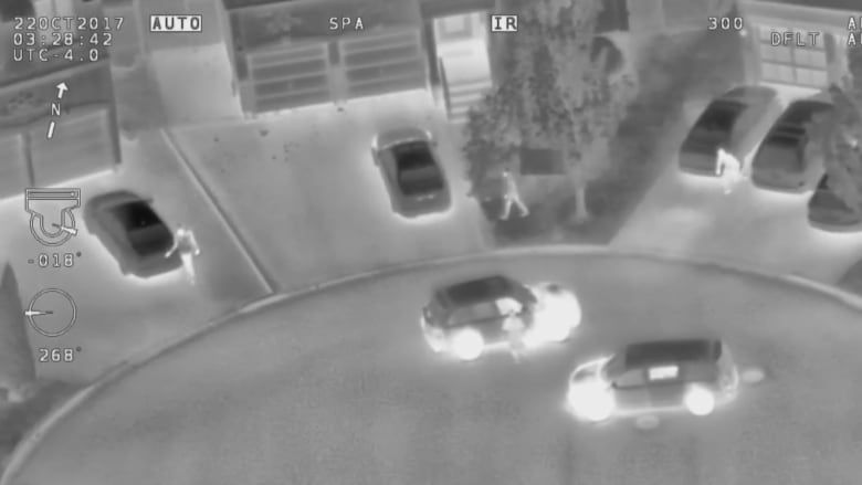 Police helicopter video shows thefts in progress from parked