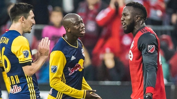 The animosity between Toronto's Jozy Altidore, right, and New York's Sacha Kljestan, left, continued in the tunnel on the way to the teams' dressing rooms at halftime.