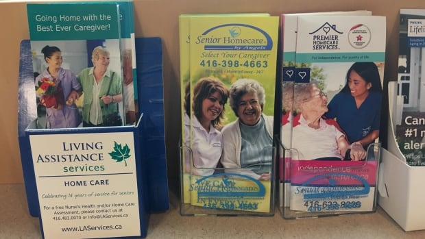 Brochures advertising home-care services displayed in a Toronto hospital.