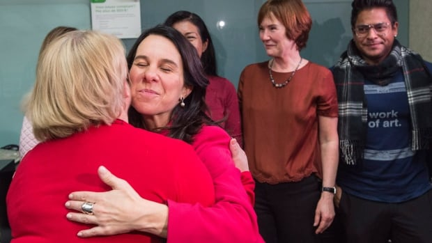 Montreal's mayor-elect Valerie Plante meets City Hall employees on Monday. Plante scored a stunning upset in Montreal's mayoral election on Sunday, defeating incumbent Denis Coderre to become the first woman to win the post.