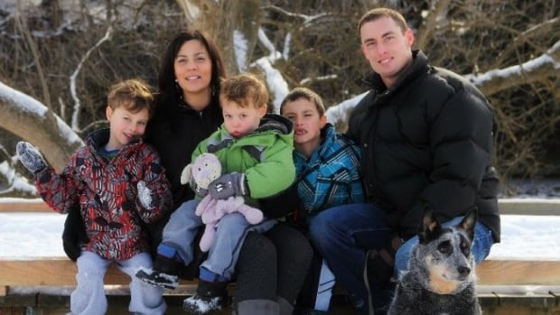 Amy Stiles of Fergus is seen in this family photo with her husband, Randy, and their three songs, Julian, Darian and Preston. The photo was posted to a GoFundMe page to raise money for the family following Stiles' death last week in a collision between a car and a dump truck.