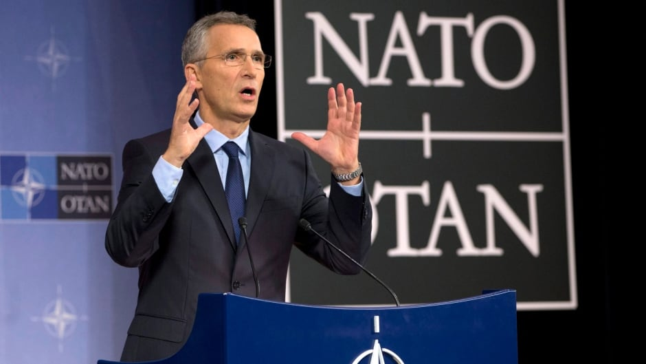 NATO secretary general Jens Stoltenberg speaks during a media conference at NATO headquarters in Brussels on Tuesday.