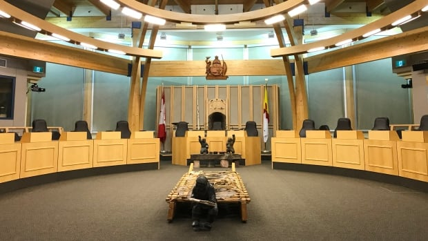 Nunavut's legislative assembly. The territory's next premier will be selected by MLAs on Friday, though they will not be officially sworn in until Nov. 21.