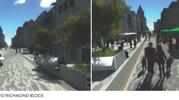 This artists' rendition shows two scenarios for the revamped Dundas Place: Open to vehicles, left, and hosting an event.