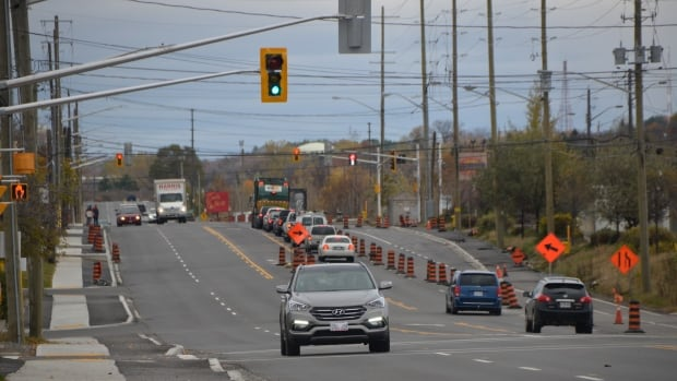 Cars drive along the reconstructed section of Lorne Street in Sudbury that cost $8.5 million.