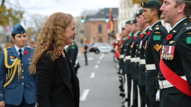 Governor General Julie Payette inspects the troops in Fredericton, New Brunswick, earlier this month. She will visit Yellowknife next week.