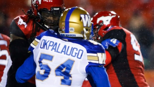 Tristan Okpalaugo had six defensive tackles, 52 fumble return yards and three QB sacks as the Winnipeg Blue Bombers locked up second place in the CFL west division with 23-5 win over Calgary on Nov. 3.
