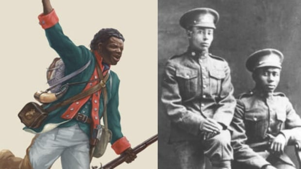 Illustration of Black Loyalist Richard Pierpoint and a photo of two black soldiers who served in the First World War.