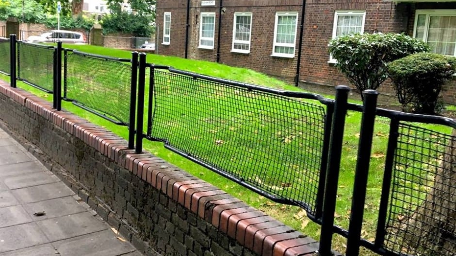A fence in London, England, made from stretchers from the Second World War.