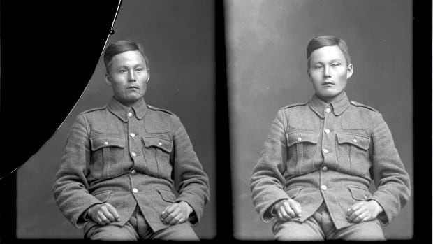 John Shiwak, seen here in 1915, went to war at age 26, travelling with a handful of other young men to St. John's, where they signed up for the Royal Newfoundland Regiment.