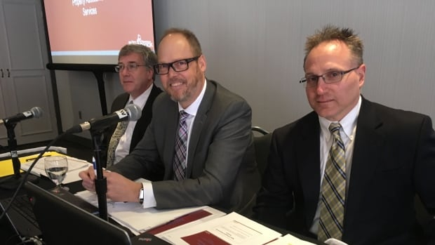 Senior Service New Brunswick assessment officials, from left, Alan Roy, Charles Boulay and Stephen Ward, helped construct a timeline of the assessment controversy in April that traced its 'genesis' to a presentation to Premier Brian Gallant.