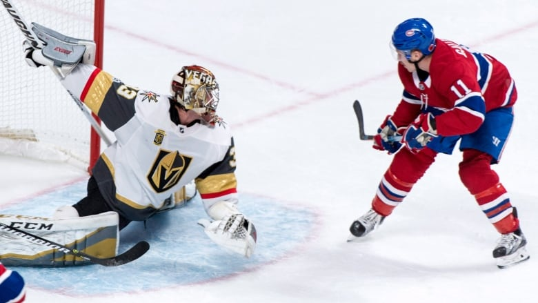 9f69a4a94 Vegas Golden Knights goalie Maxime Lagace stops a shot from Montreal  Canadiens' Brendan Gallagher in Montreal's 3-2 win on Tuesday.