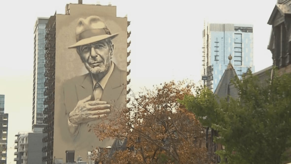 Leonard cohen mural inaugurated in downtown montreal for Mural leonard cohen