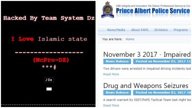 The image on the left is the Prince Albert Police Service website following the apparent hack on Wednesday. The police service launched a new website on Friday.