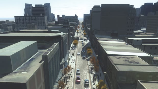A rendering shows a bird's eye view of the length of Dundas Place, looking west from Wellington Street to Ridout Street.