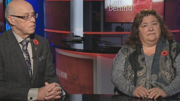 The province's health minister John Haggie, left, and suicide counsellor Tina Davies, right, spoke to CBC's Here & Now about the number of suicides in Grand Bank last year.
