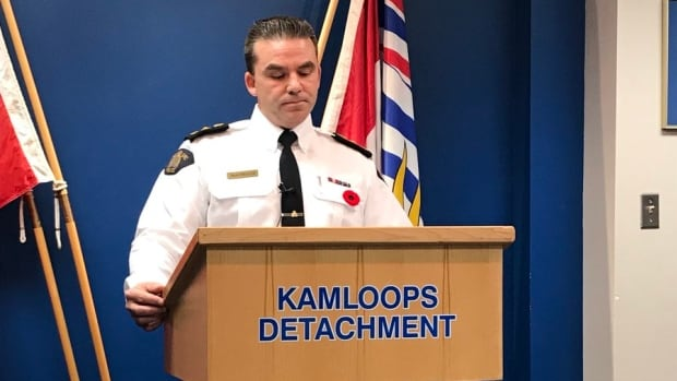 Kamloops RCMP Supt. Brad Mueller at a press conference addressing the increase in crime in the city in November, 2017.