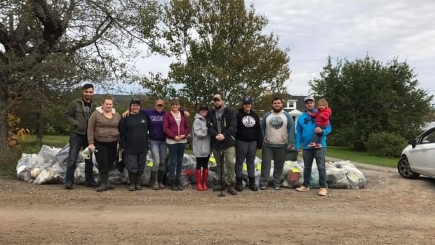This group gathered to pick up illegally dumped trash near Glace Bay, N.S.