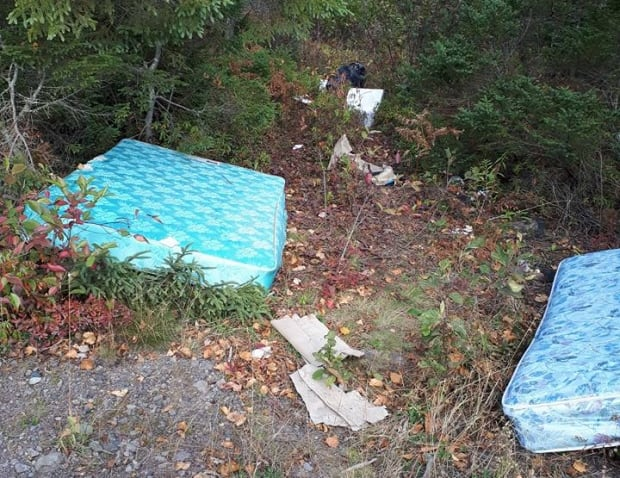 Garbage with mattresses