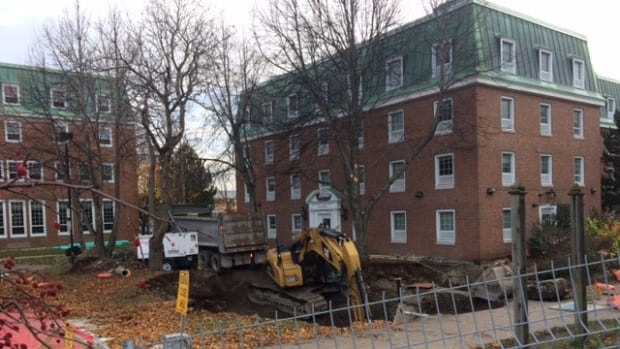 Repair crews were digging outside Paton College on Wednesday after a leaky pipe developed into a full blown break.