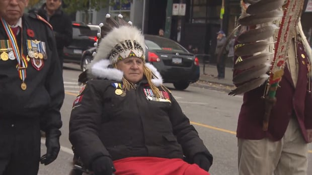 Veterans parade down the streets of Vancouver on Nov. 8 to mark National Aboriginal Veterans Day.