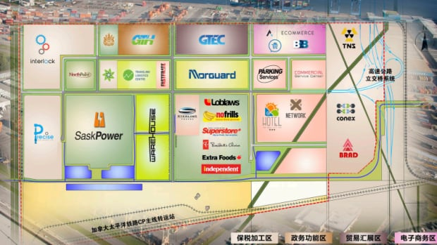 The government and other promoters of the Chinese megamall at the Global Transportation Hub are using a map full of made-up companies to sell the project to potential investors in China.