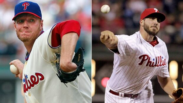 """Former Phillies ace Roy Halladay, left, was a """"silent leader"""" for former teammate Phillippe Aumont, right, of Gatineau, Que. Halladay died Tuesday at age 40 in a plane crash. """"I always envied the way he worked, the way he took care of business,"""" Aumont said."""