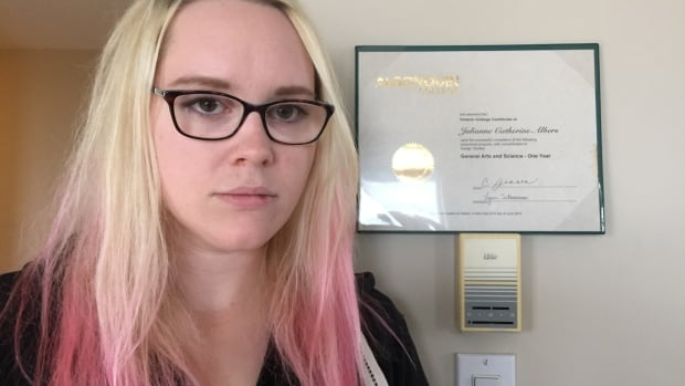 Julianne Albers, a graphic design student at Algonquin college, has been told her fall bursary is on hold because of a province-wide faculty strike.