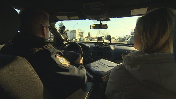 Const. Curtis Warnar took the CBC's Jill Morgan on a ride-along this week to show her what being a traffic cop is all about.