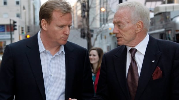Roger Goodell, NFL commissioner, left, and Jerry Jones, owner of the Dallas Cowboys, pictured in 2011.