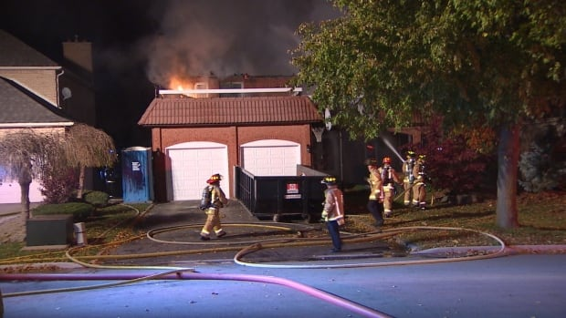 Firefighters battled a two-alarm blaze on Colton Crescent in Woodbridge early Thursday morning. The cause has not been determined.