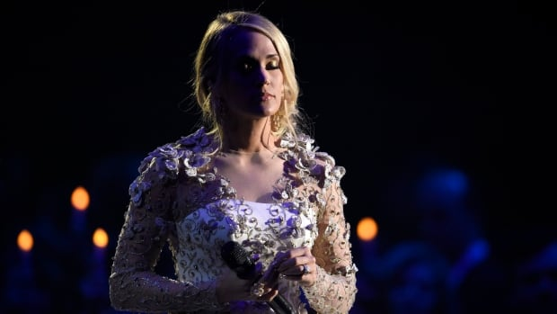 Carrie Underwood is seen performing at the CMA Awards in Nashville in early November. She suffered a fall at home days later.
