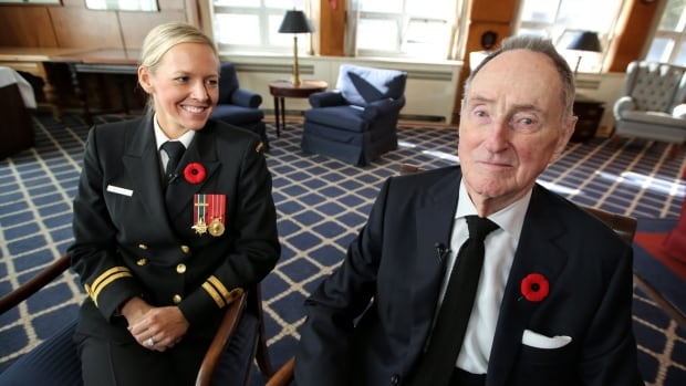 Jennifer Martin, 34, is currently serving in the navy as a lieutenant. David Howard, 99, served for five years during the Second World War in the same role.