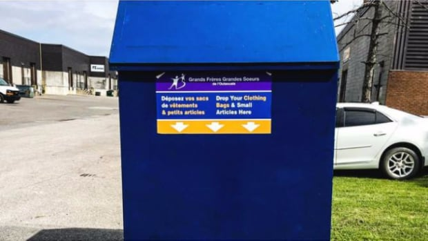 Five of these clothing donation bins have disappeared from Gatineau's Aylmer sector this week, according to the Outaouais chapter of the charitable organization Big Brothers Big Sisters. Two more are also missing from St-Vincent-de-Paul.