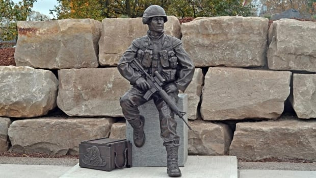 A new monument commemorating members of the Canadian Armed Forces who served in Afghanistan is now on display in St. Thomas, Ont. It was created by Sudbury artist Tyler Fauvelle.