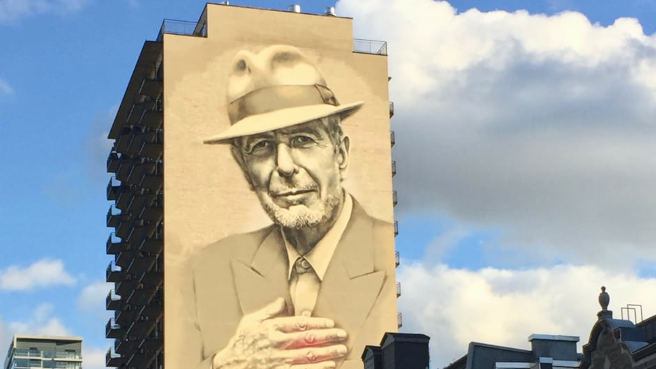 A portrait of Leonard Cohen adorns a Montreal high-rise. The mural was painted to honour the singer-songwriter, who died on Nov. 7, 2016.