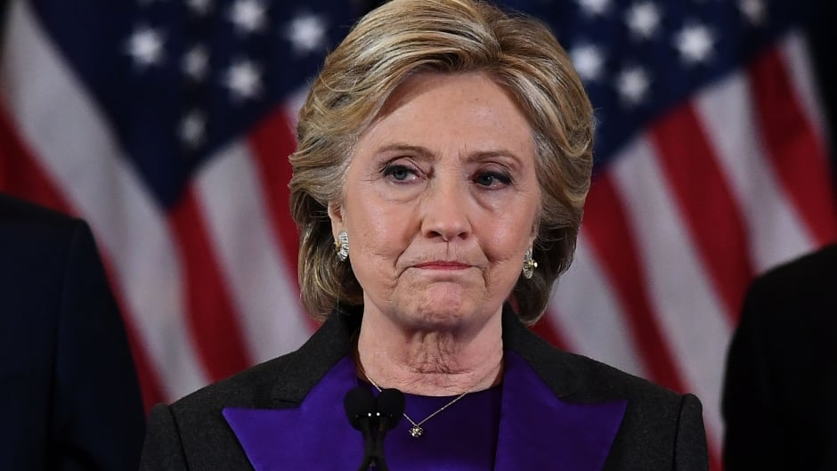 Democratic U.S. presidential candidate Hillary Clinton makes her concession speech in New York after being defeated by Donald Trump in the November 2016 election.