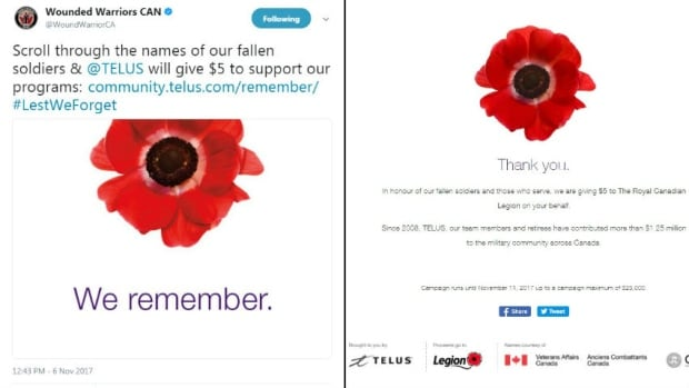 At left, a tweet from Wounded Warriors Canada promoting the fundraiser on Nov. 6. At right, the message users received on Nov. 9, indicating the Royal Canadian Legion as the beneficiary of the donations.