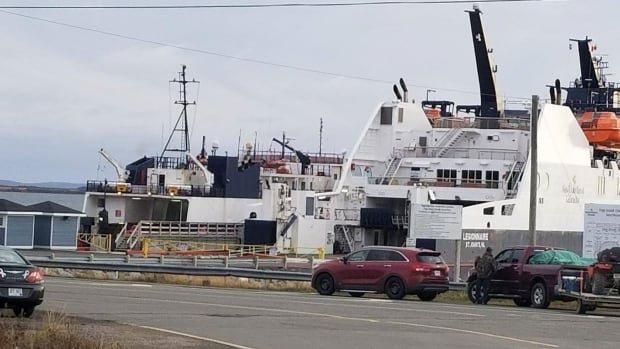 The MV Legionnaire and the Beaumont Hamel are tied up next to each other, because protesters on Fogo Island want an improved schedule before they let the Beaumont Hamel travel to Bell Island.