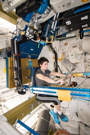 Astronaut Samantha Cristoforetti space station exercise