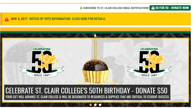 This ad has been pulled from St. Clair College's website after a student complained it was ill-timed due to the ongoing labour dispute.