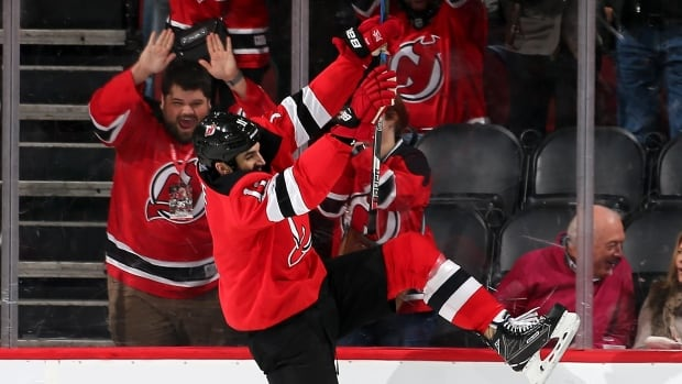 New Jersey's Brian Boyle celebrates his goal Thursday, in just his fifth game back after being diagnosed with leukemia.