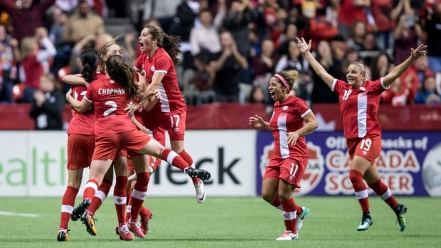 From left to right: Christine Sinclair, Janine Beckie, Allysha Chapman, Jessie Fleming, Desiree Scott and Adriana Leon celebrate Canada's tying goal against the United States during their 1-1 draw on Thursday.