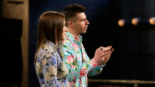 Jeff Alpaugh and partner Emilee Boychuk talk about their shirts on Dragons' Den this week.