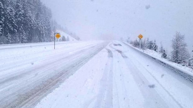The view heading west out of Peachland on Highway 97C was a snowy one on Nov. 10, 2017. Environment Canada says snow could accumulate again at higher elevations late Tuesday and into Wednesday.
