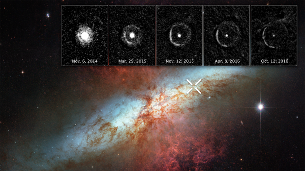 The Hubble Space Telescope observed the light echo of supernova SN 2014J in the M82 galaxy and shown in the inset photos.